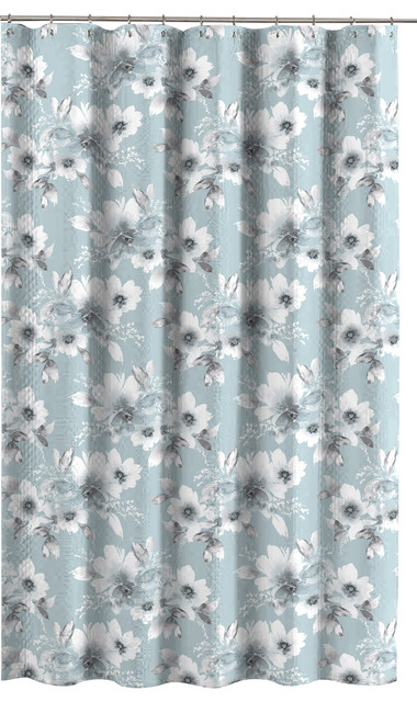 Aqua Blue Gray White Embossed Fabric Shower Curtain Watercolor Floral Design