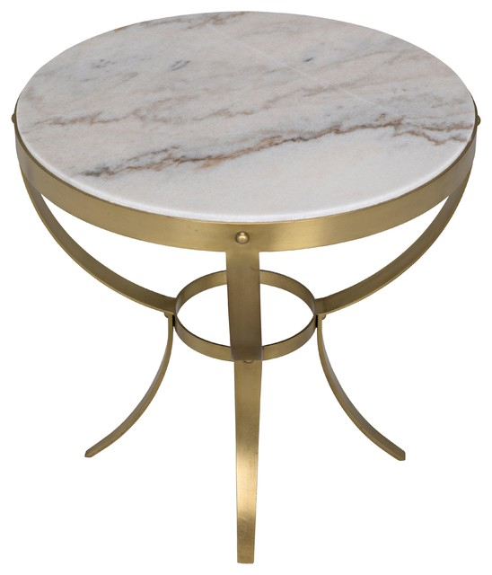 Michael Hollywood Regency Round White Stone Antique Br Side End Table