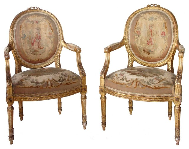 Etonnant Pair Of French Louis XVI Style Gilt Aubusson Armchairs