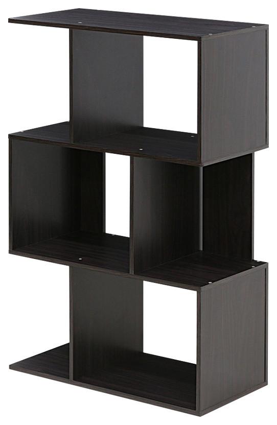 Leo Storage Book Shelf Three Tier Wide Style Espresso Finish