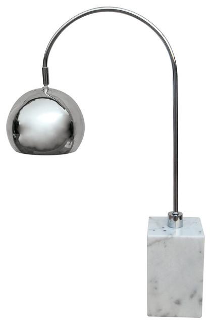 White Marble Base Arc Desk Lamp