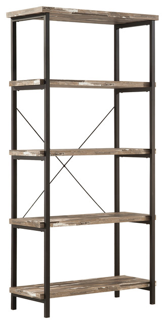 Coaster Bookcase In Salvaged Cabin/black Finish 801552.