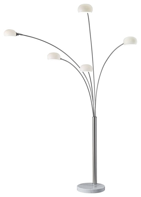 adesso luna brushed steel arc lamp contemporary floor lamps by. Black Bedroom Furniture Sets. Home Design Ideas
