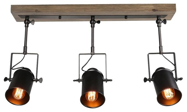 official photos 42233 944db Industrial Wood Close to Ceiling Track Lighting Spotlights 3-Light Track  Lights