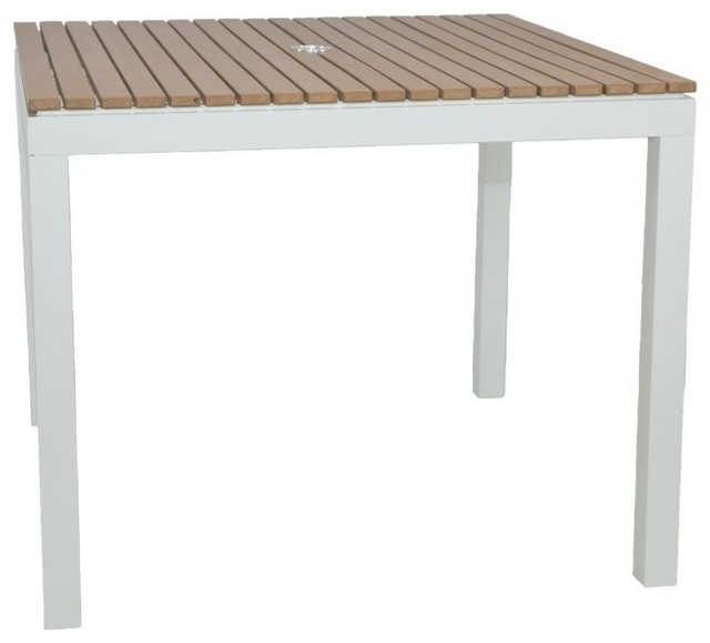 Riviera Outdoor Faux Wood Square Dining Table, White Modern Outdoor Dining  Tables
