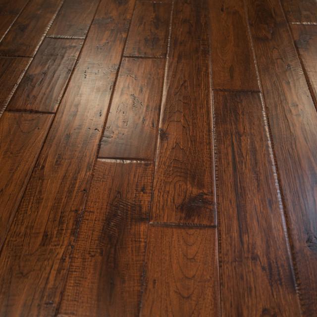 Hickory Hand Scraped Prefinished Solid Wood Flooring Canyon Crest