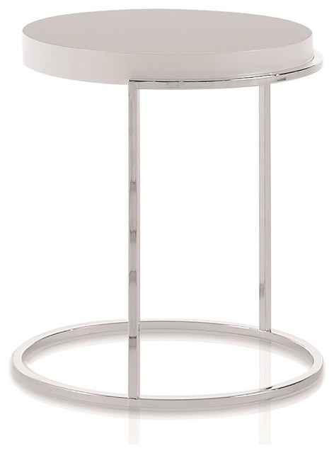 Servogiro And Servoquadro Contemporary End Table, Glossy White Lacquer,  Round Contemporary Side