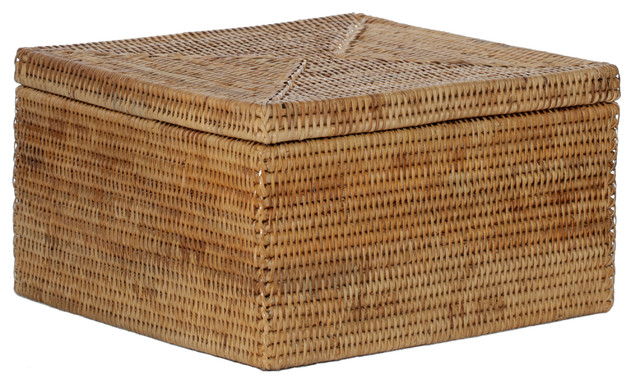 hand woven rattan letter file box with lid tropical decorative boxes - Decorative File Boxes