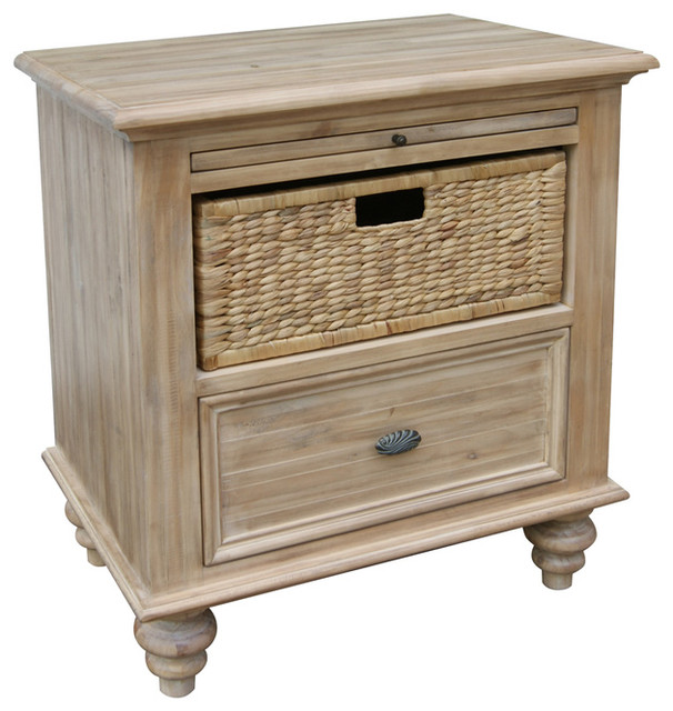 Ashwell Night Stand With Baskets - Farmhouse - Nightstands And ...