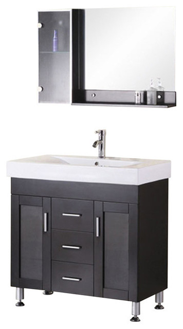 "Milan 36"" Single Sink Vanity Set, Espresso."