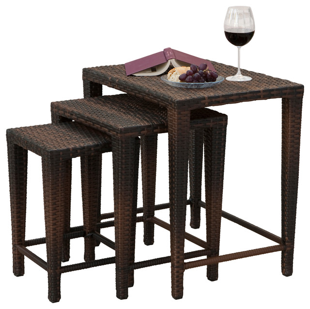 Mayall 3-Piece Outdoor Table Set Multicolor Brown  sc 1 st  Houzz & Mayall Nested Outdoor Tables 3-Piece Set - Tropical - Outdoor Side ...