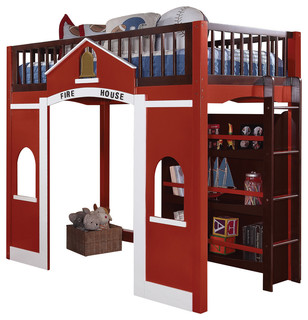 Fola Loft Bed and Bookshelf, Red, White and Espresso