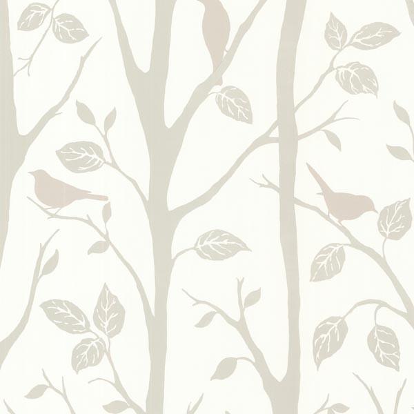 Corwin Gray Bird Branches Wallpaper Contemporary Wallpaper By