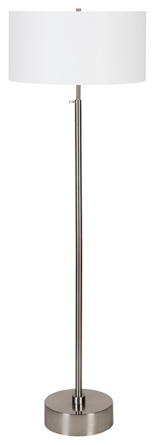 Cancan 3 Adjustable Floor Lamp In Brushed Nickel Finish With Cocoa Chintz Shade.