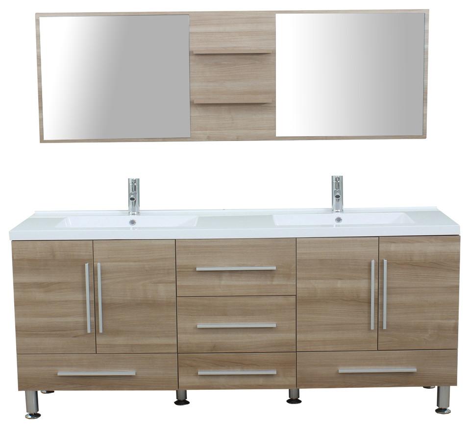 The Modern 67 inch Double Modern Bathroom Vanity in Light ...