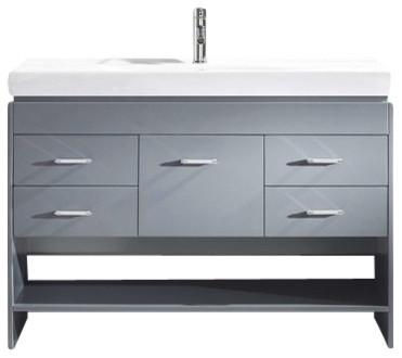 "Gloria 48"" Single Bathroom Vanity Cabinet Set, Gray."