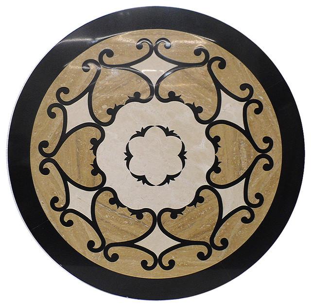Stone Medallion Inlays : Beautiful waterjet marble medallion tile inlay