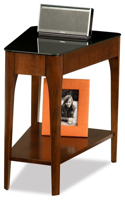 Leick Obsidian Glass Top End Table in Chestnut