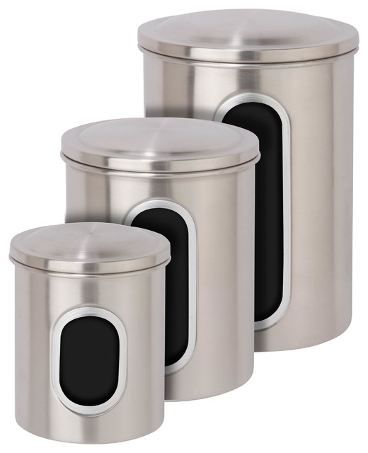 metal storage canisters stainless steel set of 3