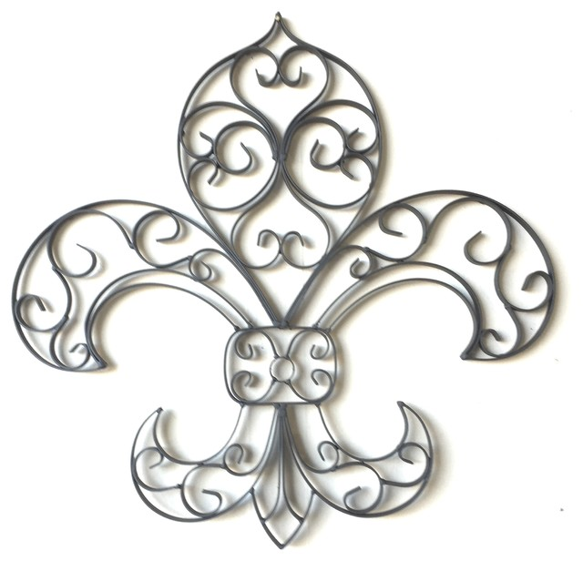 Tuscan Wrought Iron Fleur De Lis Wall Plaque