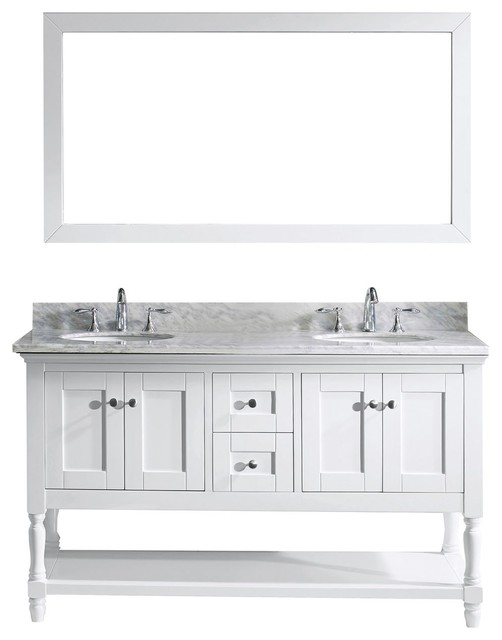 "Virtu Usa Julianna 60"" Double Bathroom Vanity With Marble Top, White."