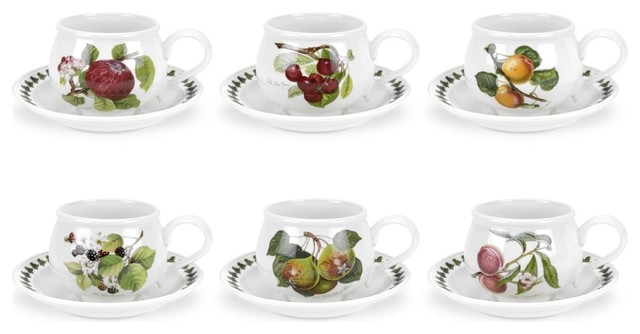 e86a343b3f Portmeirion Pomona Breakfast Cups and Saucers, 6-Piece Set - Farmhouse -  Cappuccino And Espresso Cups - by Silver & Crystal Gallery