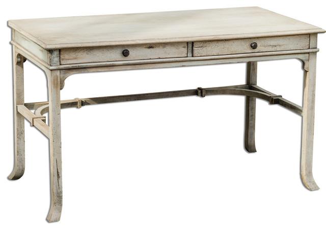 """""""sturbridge"""" Aged White Wood Writing Desk."""