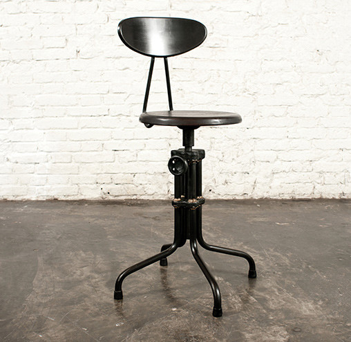 LUsine Low Adjustable Stool with Back industrial bar stools and