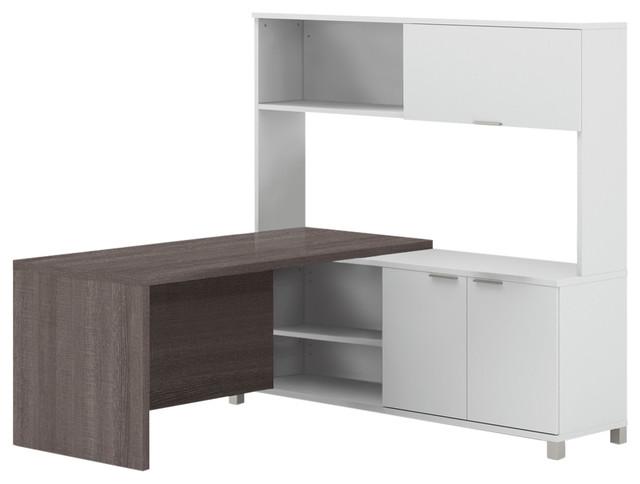 Enjoyable Pro Linea L Desk With Hutch White Oak Barrel Home Interior And Landscaping Ponolsignezvosmurscom