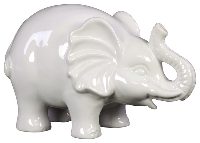 Awesome Urban Trends Ceramic Elephant Statue With White