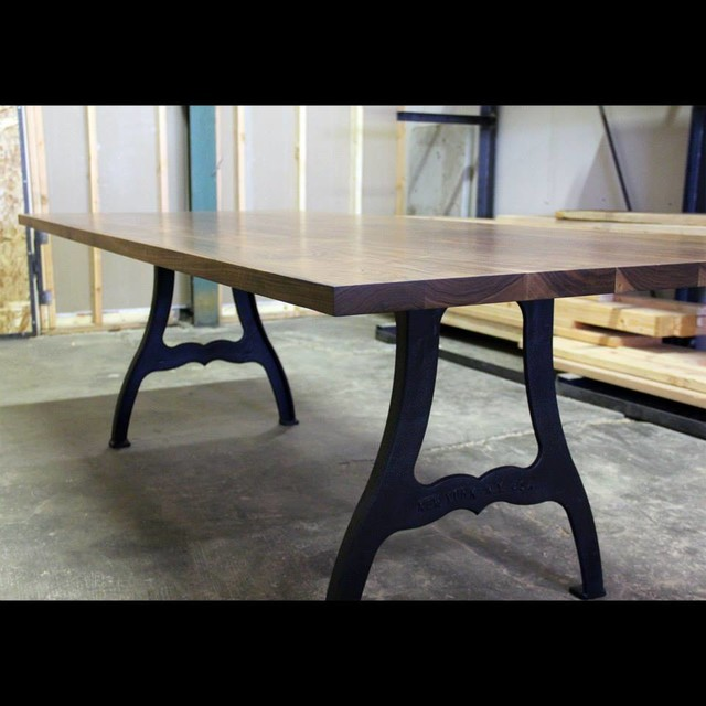 Black walnut and cast iron machine leg dining table for Dining room tables los angeles