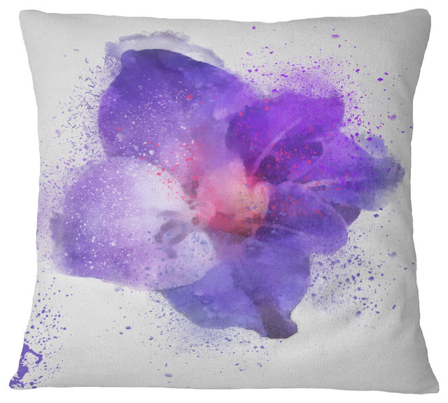 "Large Petal Watercolor Blue Flower Floral Throw Pillow, 18""x18"""