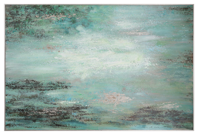 Oversize Blue Green Silver Frame Abstract Wall Art, Painting Pond River Aqua.
