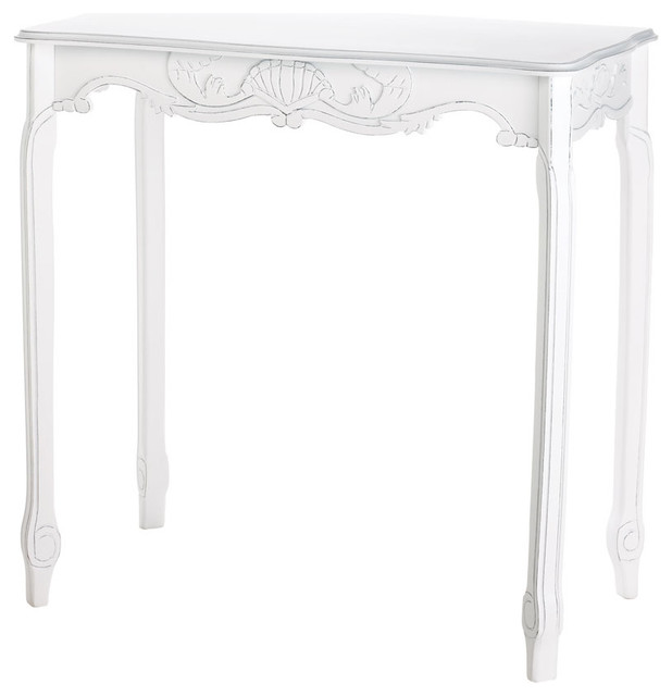 Distressed White Hallway Table Traditional Console Tables