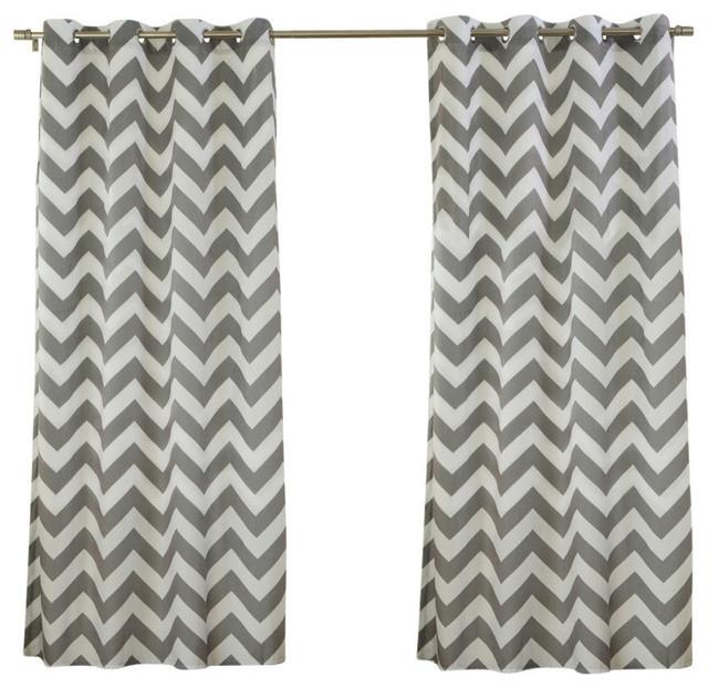 "Velvet Chevron Print Curtains, Pair, Gray, 84""."