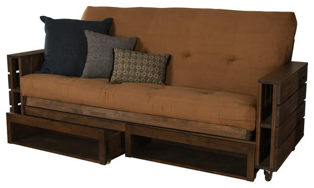 Ashland Frame Futon Rustic Walnut Storage Drawers Suede Peat Mattress