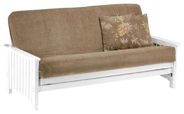 Solid Wood Futon Frame In White Finish W Thic