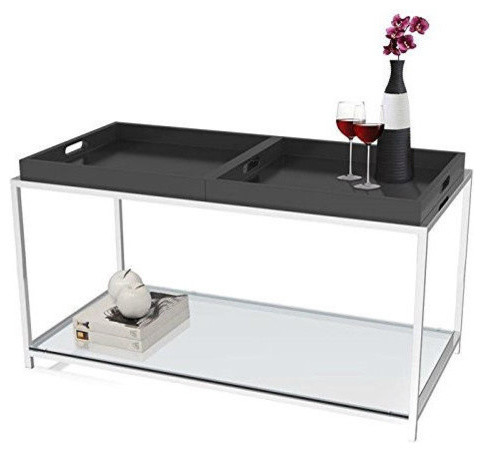 Modern Glass Top Metal Coffee Table With Black Removable Trays Contemporary  Coffee Tables
