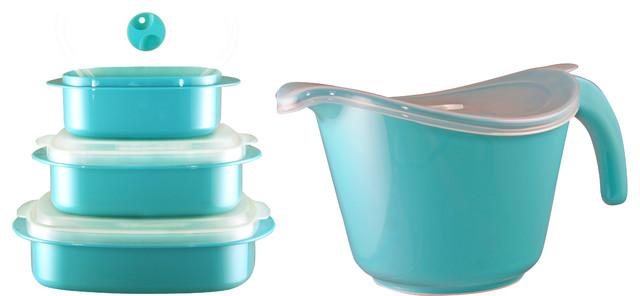 Calypso Basics Microwavable Cookware Set, Turquoise.