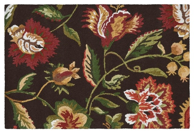 36 Quot X24 Quot Rug Jacobean Floral Flowers Brown Traditional