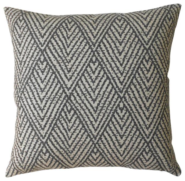Geo Cascade Pillowcase, Gray And Tan.