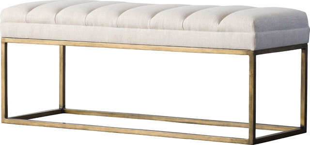 Darius Fabric Bench, Shortbread. -1
