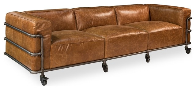 Leather Sofa Top Grain Brown