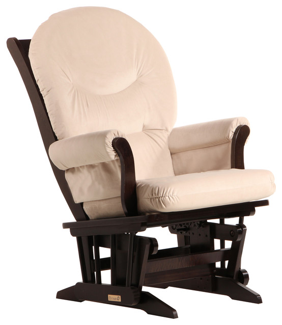 Dutailier Sleigh Glider in Espresso and Light Beige Fabric by Dutailier Group