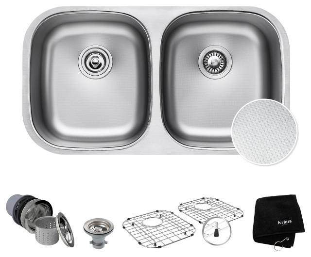 "32"" Undermount Stainless Steel Kitchen Sink, Double 50/50 Bowl 16 Gauge"