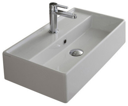 "23.6"" White Ceramic Wall Mounted or Vessel Sink, One Hole"