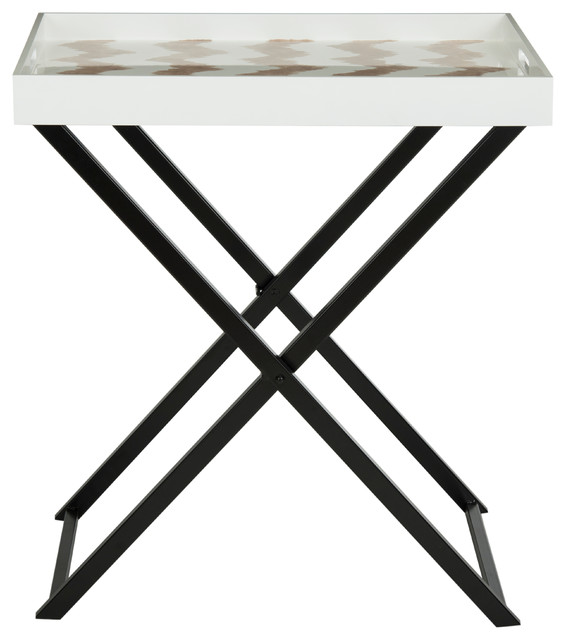 Abba Tray Table, Warm Gray/white.