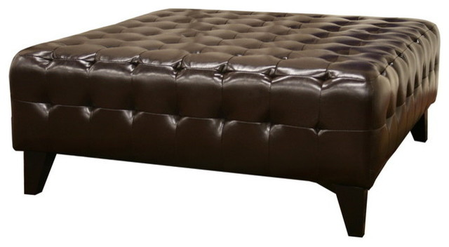 Super Baxton Studio Pemberly Dark Brown Bonded Leather Square Ottoman Caraccident5 Cool Chair Designs And Ideas Caraccident5Info