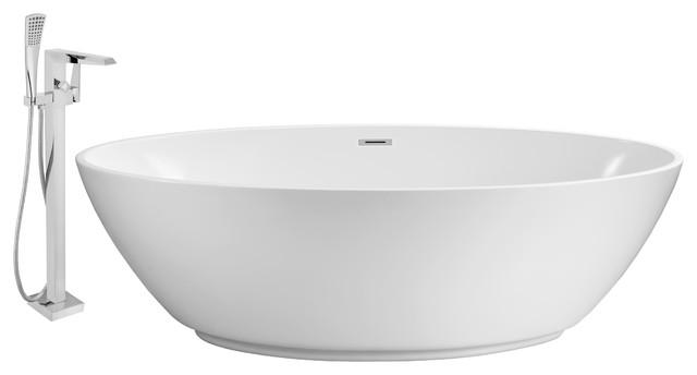 "Streamline 70"" Freestanding Faucet And Tub Set, Showerhead H-100."