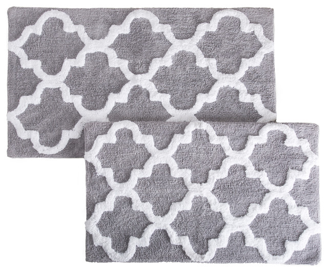 Lavish Home 100% Cotton 2 Piece Trellis Bathroom Mat Set, Silver.